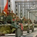 PRI50 - 19880521 - TERMEZ, UZBEKISTAN : (FILES) Picture dated 21 May 1988 showing a convoy of Soviet Army armoured personal vehicles cross a bridge in Termez, at the Soviet-Afghan border, during the withdrawal of the Red Army from Afghanistan. The military occupation of Afghanistan by the former Soviet Union ended 15 February 1989, under a Geneva accord. More than 2.6 million Afghans still remain in exile following the 1979 invasion of Afghanistan by Soviet troops, a UN agency said 12 February in Islamabad. EPA PHOTO AFP FILES/VITALY ARMAND/vn/ao-fob